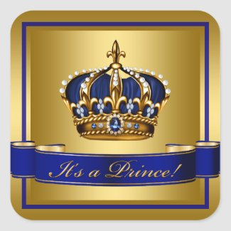 Royal Blue and Gold Crown Prince Baby Shower Square Sticker