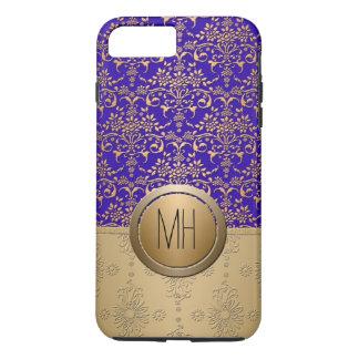 Royal Blue and Gold Damask Custom Monogram Pattern iPhone 7 Plus Case