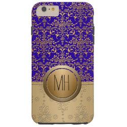 Royal Blue and Gold Damask Custom Monogram Pattern Tough iPhone 6 Plus Case