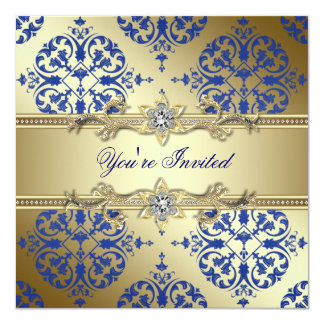 Royal Blue and Gold Damask Party Invitations
