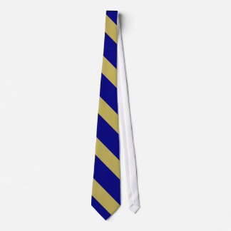 Royal Blue and Gold Diagonal Stripes Neck Tie