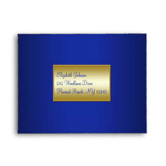 Royal Blue and Gold Envelope for RSVP Cards