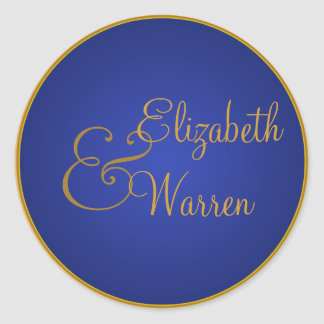 Royal Blue and Gold Envelope Seal Classic Round Sticker