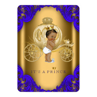 Royal Blue and Gold Ethnic Prince Baby Shower 5x7 Paper Invitation Card
