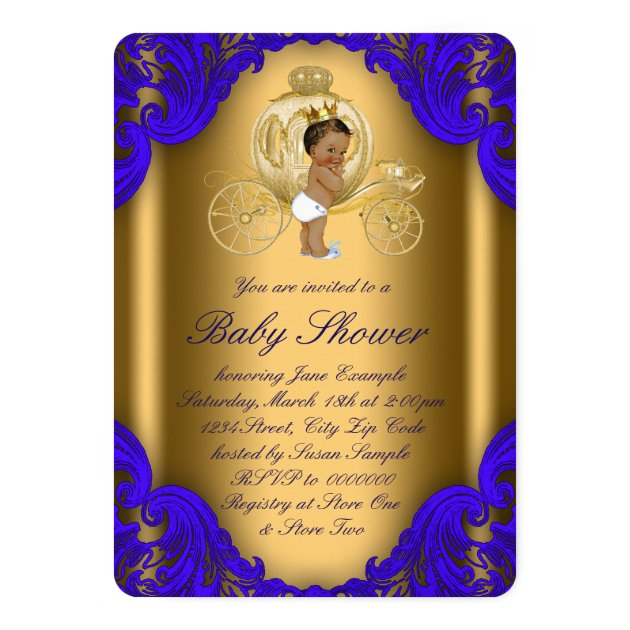 royal blue and gold ethnic prince baby shower card | zazzle, Baby shower invitations
