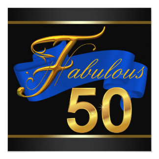 Royal Blue and Gold Fabulous 50th Birthday Party Card