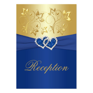 Royal Blue and Gold Floral Enclosure Card Large Business Card