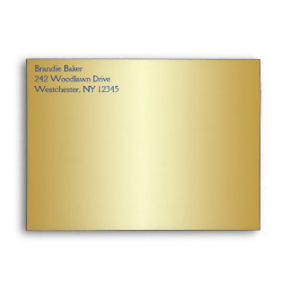 Royal Blue and Gold Floral Envelope fits 5x7 Sizes