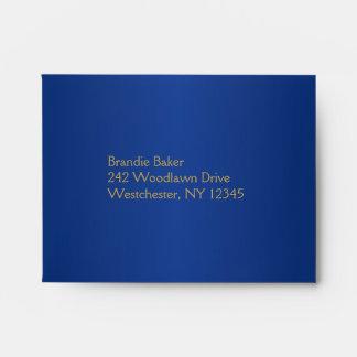 Royal Blue and Gold Floral Envelope fits RSVP