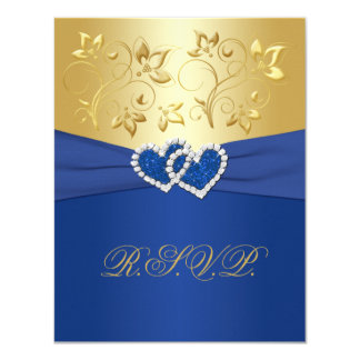 Royal Blue and Gold Floral Reply Card