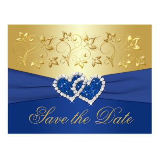 Royal Blue and Gold Floral Save the Date Card