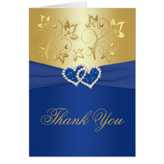 Royal Blue and Gold Floral Thank You Card