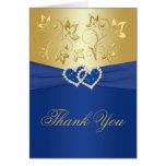 Royal Blue and Gold Floral Thank You Card Cards