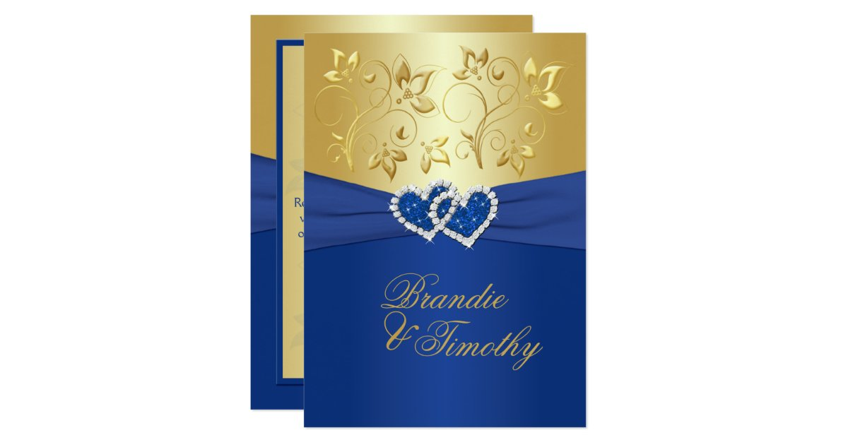Wedding Invitation Designs Royal Blue: Royal Blue And Gold Floral Wedding Invitation