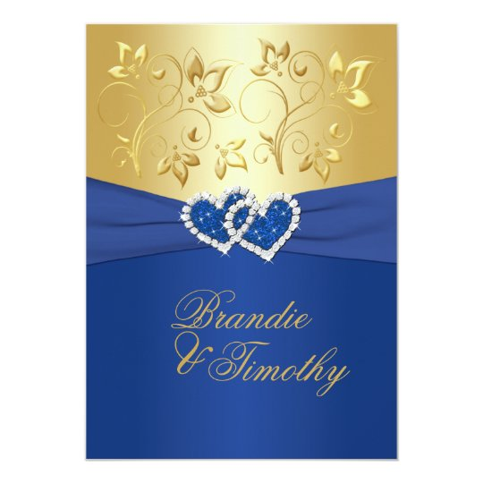Royal Blue And Gold Floral Wedding Invitation Zazzle Com