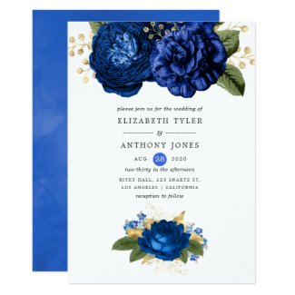 Royal Blue and Gold Wedding Invitation Templates Rose