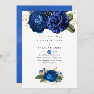 Royal Blue and Gold Wedding Invitation Templates Rose