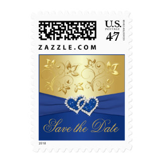 Royal Blue and Gold Floral Wedding Postage