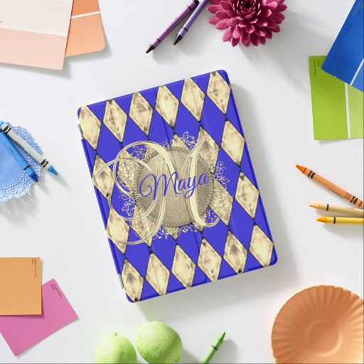 Royal Blue and Gold Glam Monogram iPad Smart Cover