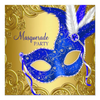 Royal Blue and Gold Masquerade Party Card