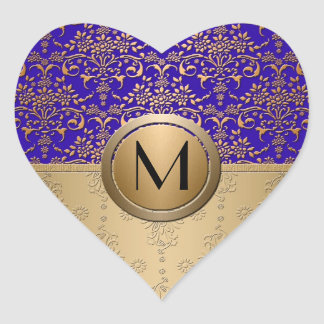 Royal Blue and Gold Monogram Damask Heart Sticker