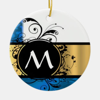 Royal blue and gold monogram Double-Sided ceramic round christmas ornament