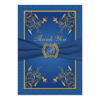 Royal Blue and Gold Monogram Thank You Card