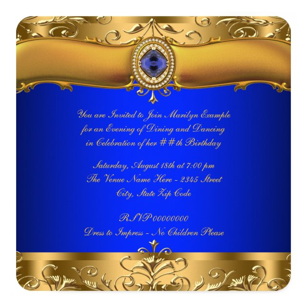 Royal Blue and Gold Party Card | Zazzle