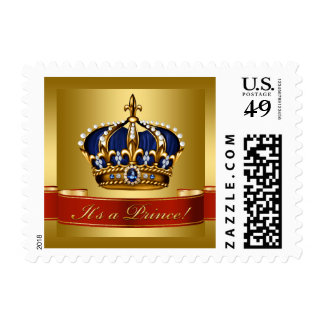 Royal Blue and Gold Prince Baby Postage
