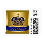 Royal Blue and Gold Prince Baby Postage Stamp