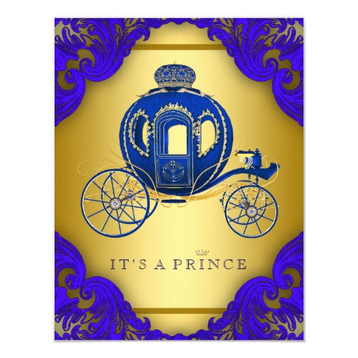 royal blue and gold prince baby shower paper invitation card
