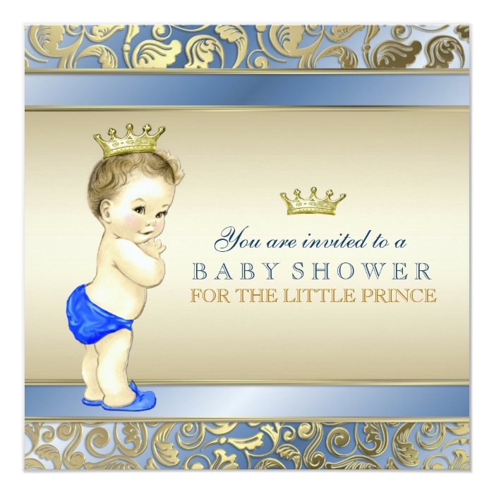 Royal Blue and Gold Prince Baby Shower Card | Zazzle