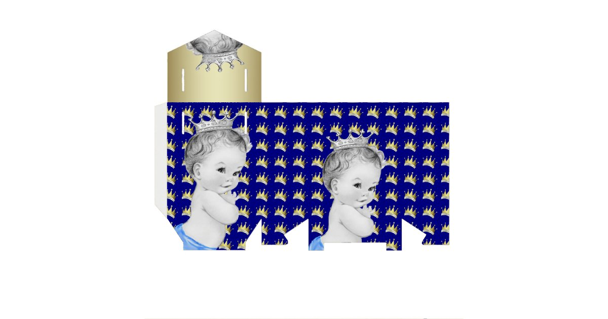 royal blue and gold prince baby shower favor box zazzle