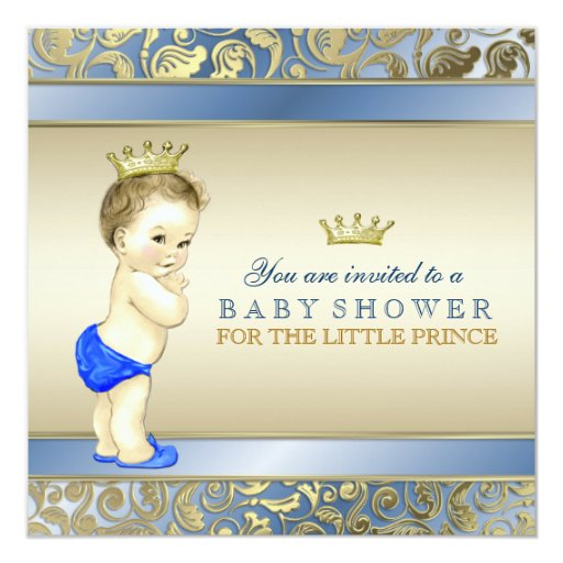 royal blue and gold prince baby shower invitation zazzle