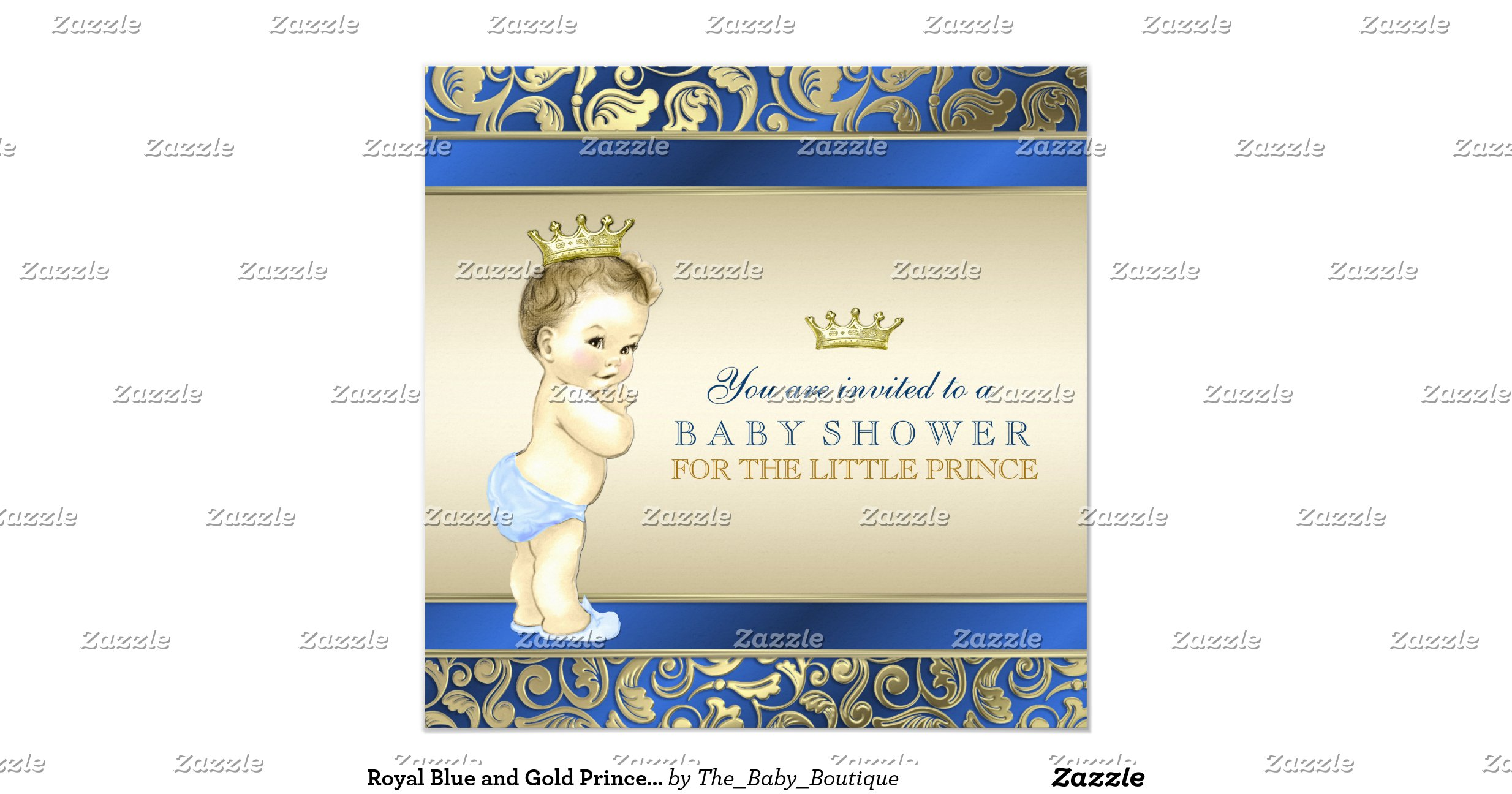 royal blue and gold prince baby shower invitation