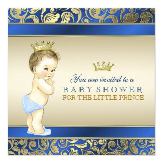 Royal Blue and Gold Prince Baby Shower 5.25x5.25 Square Paper Invitation Card