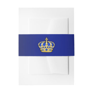 Royal Blue and Gold Prince Baby Shower Invitation Belly Band