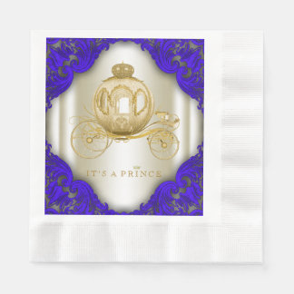 royal blue and gold prince baby shower paper napkin