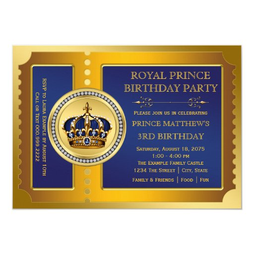 Royal Blue and Gold Prince Birthday Party Custom Announcements