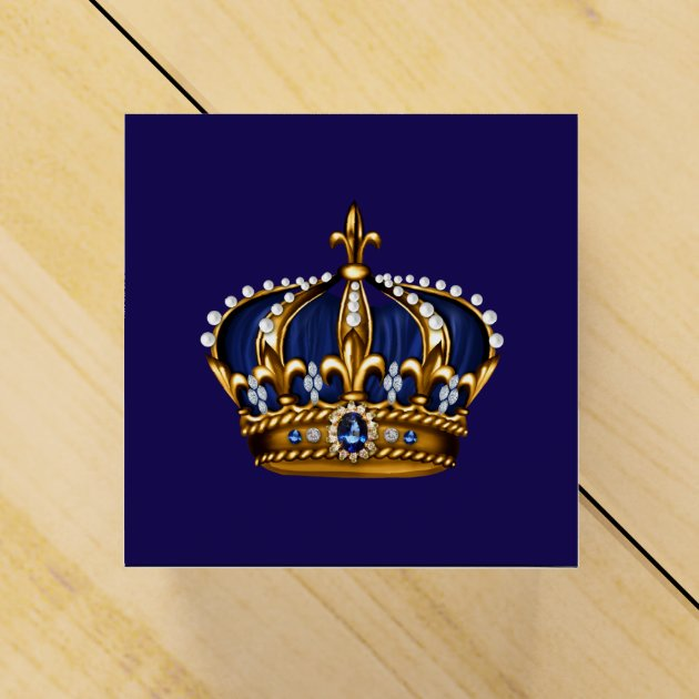 Royal Blue and Gold Prince Crown Favor Box | Zazzle