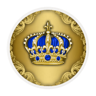 Royal Blue and Gold Prince Cupcake Edible Frosting Rounds