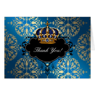 Royal Blue and Gold Prince Thank You Greeting Cards
