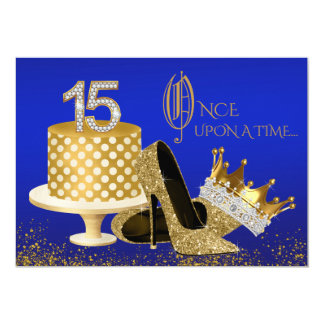 Royal Blue and Gold Quinceanera Card