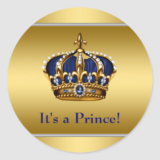 Royal Blue and Gold Royal Baby Shower Classic Round Sticker