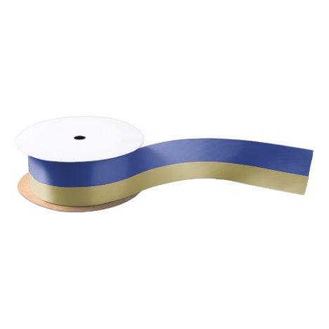 Royal Blue and Gold Striped Satin Ribbon
