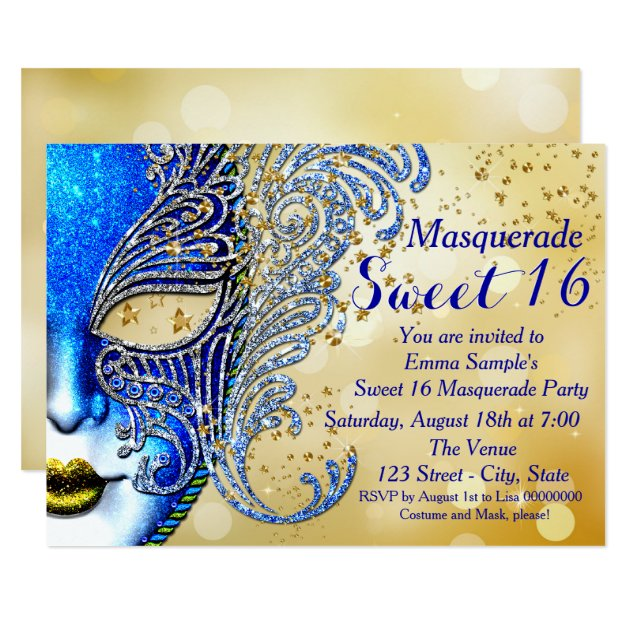 Royal Blue and Gold Sweet 16 Masquerade Party Card | Zazzle