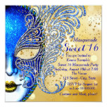 Royal Blue and Gold Sweet 16 Masquerade Party 5.25x5.25 Square Paper Invitation Card
