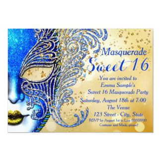Royal Blue and Gold Sweet 16 Masquerade Party 5x7 Paper Invitation Card