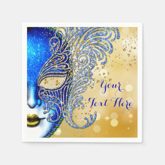 Royal Blue and Gold Sweet 16 Masquerade Party Paper Napkin
