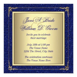 Marvelous Royal Blue And Gold Wedding Card